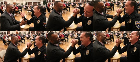 String of six photos depicting arm wrestling match between Commander Kaleb Allred and Big Al