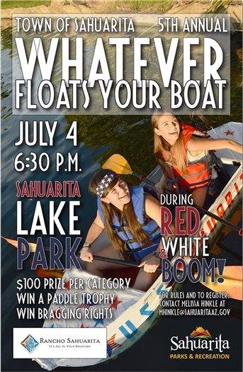 Whatever Floats Your Boat -- July 4 -- Sahuarita Lake -- 6:30 p.m.