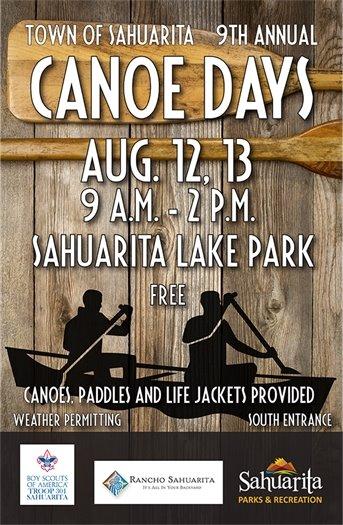 Canoe Days -- Aug. 12 and 13 -- Sahuarita Lake -- 9 a.m. to 2 p.m.