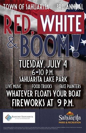 Red, White and Boom -- July 4 -- Sahuarita Lake -- 6 to 10 p.m.
