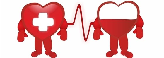 Graphic depicting one anthropomorphic heart donating blood to another