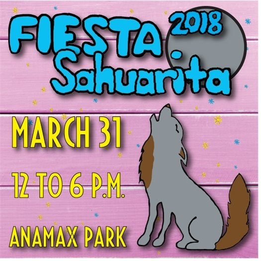 fiesta sahuarita 2018 - march 31 - 12 to 6 p.m. - image depicting coyote howling at the moon