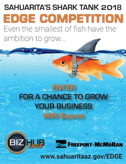 Flier for event depicting goldfish dressed as a shark.