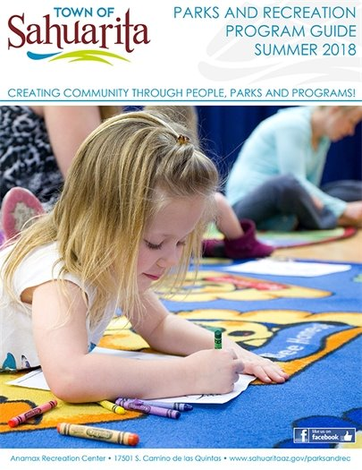 Cover of Parks and Recreation Guide depicting young girl coloring with crayons at park facilities