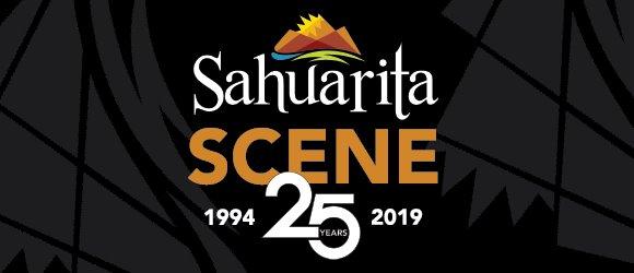 "Sahuarita Scene Masthead depicting the town's logo in blue, green, orange, red and yellow with the words, ""Sahuarita Arizona Scene."""