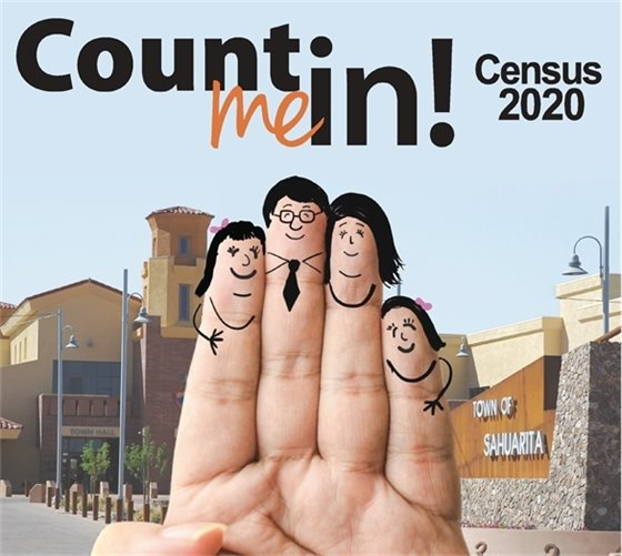 Count me in Town of Sahuarita graphic with hand and with faces drawn on fingers in ink