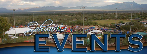 Sahuarita Events text in front of aerial image of a carnival