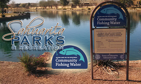 Sahuarita Parks and Recreation text on top of body of water with sign