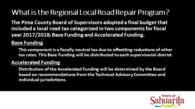 Local Regional Local Road Repair Program funding information