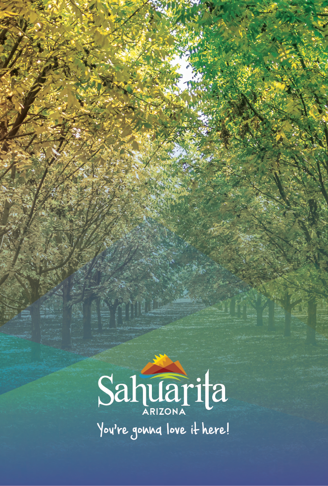 Community Profile Brochure cover image featuring pecan groves and Sahuarita logo and tagline: you&#3