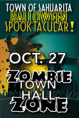 Spooktacular poster showing time date place and zombie hand emerging from grave.