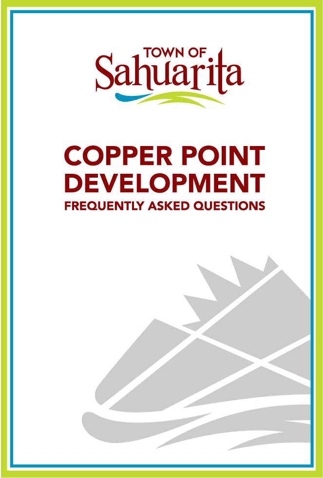 Graphic with town logo and text &#34copper point frequently asked questions&#34