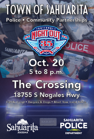 Event Poster depicting emergency vehicles and police socializing with residents.