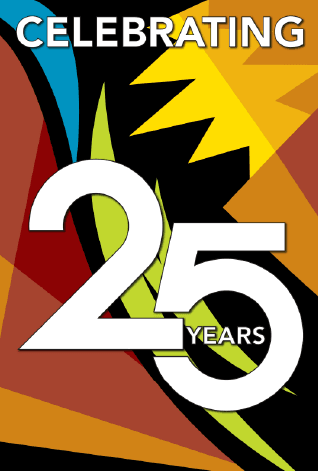celebrating 25-Years with logo colors and design