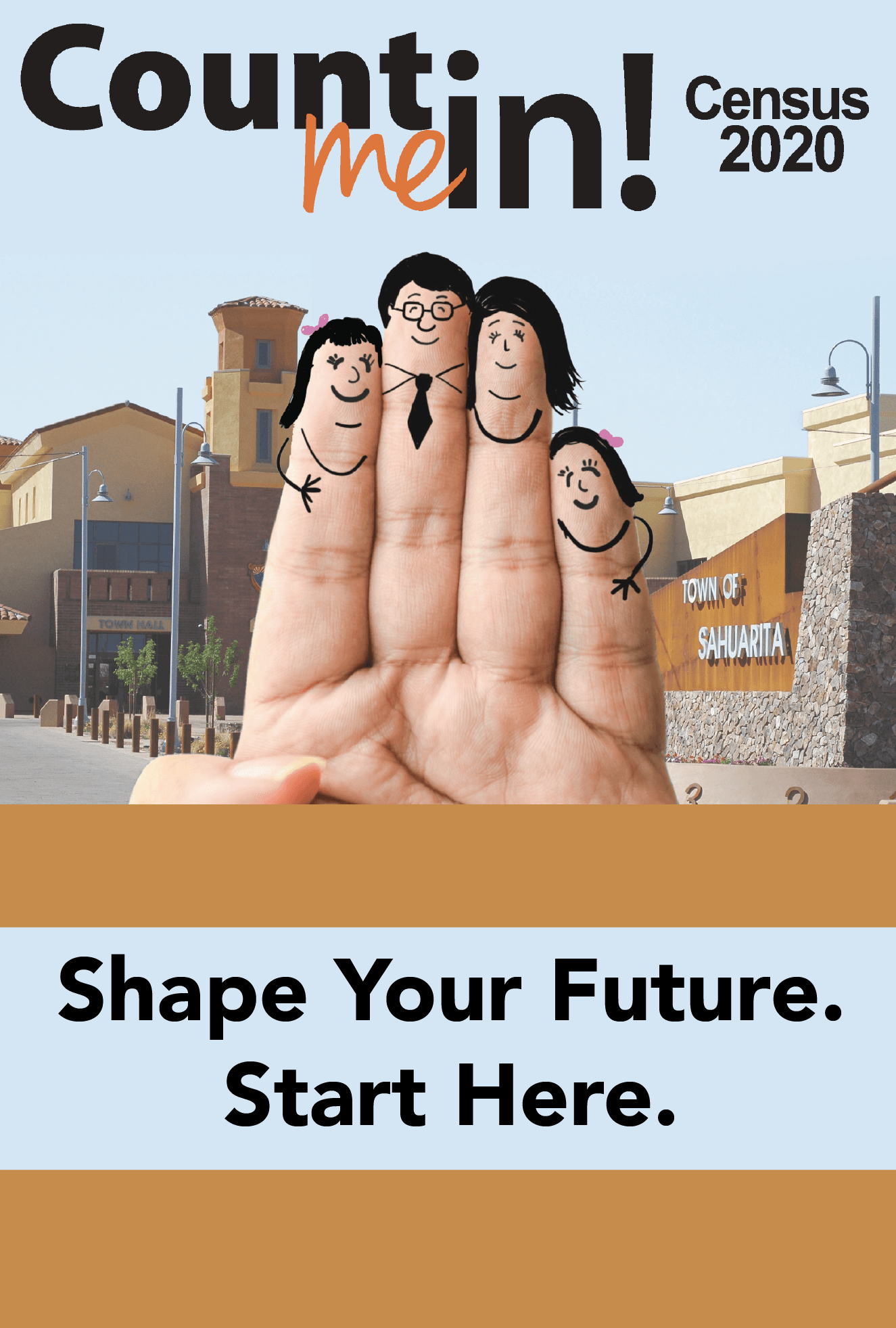 image of hand with family faces drawn in ink on fingers in front of sahuarita town hall sundial