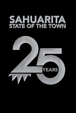 2019 State of the Town graphic with embossed silver 25-years for 25th anniversary