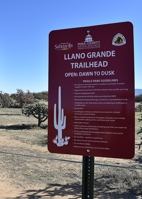 Llano Grande Trailhead Sign