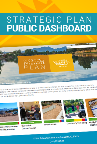 Town of Sahuarita Strategic Plan 2020-2025 report dashboard
