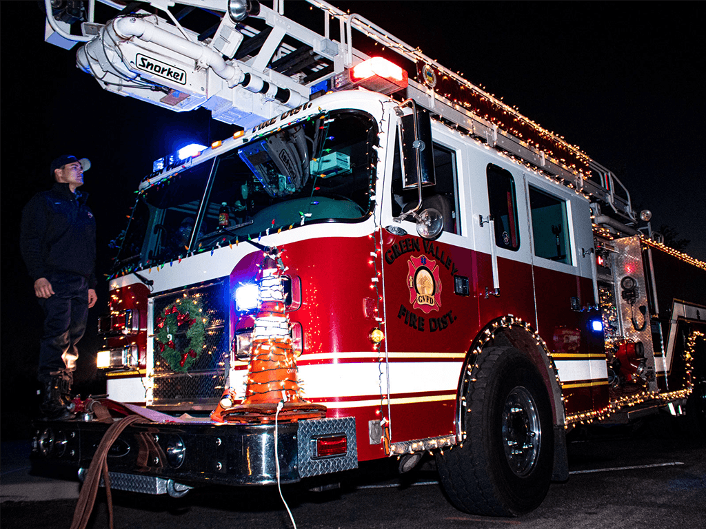 Green Valley Fire Truck decorated with lights