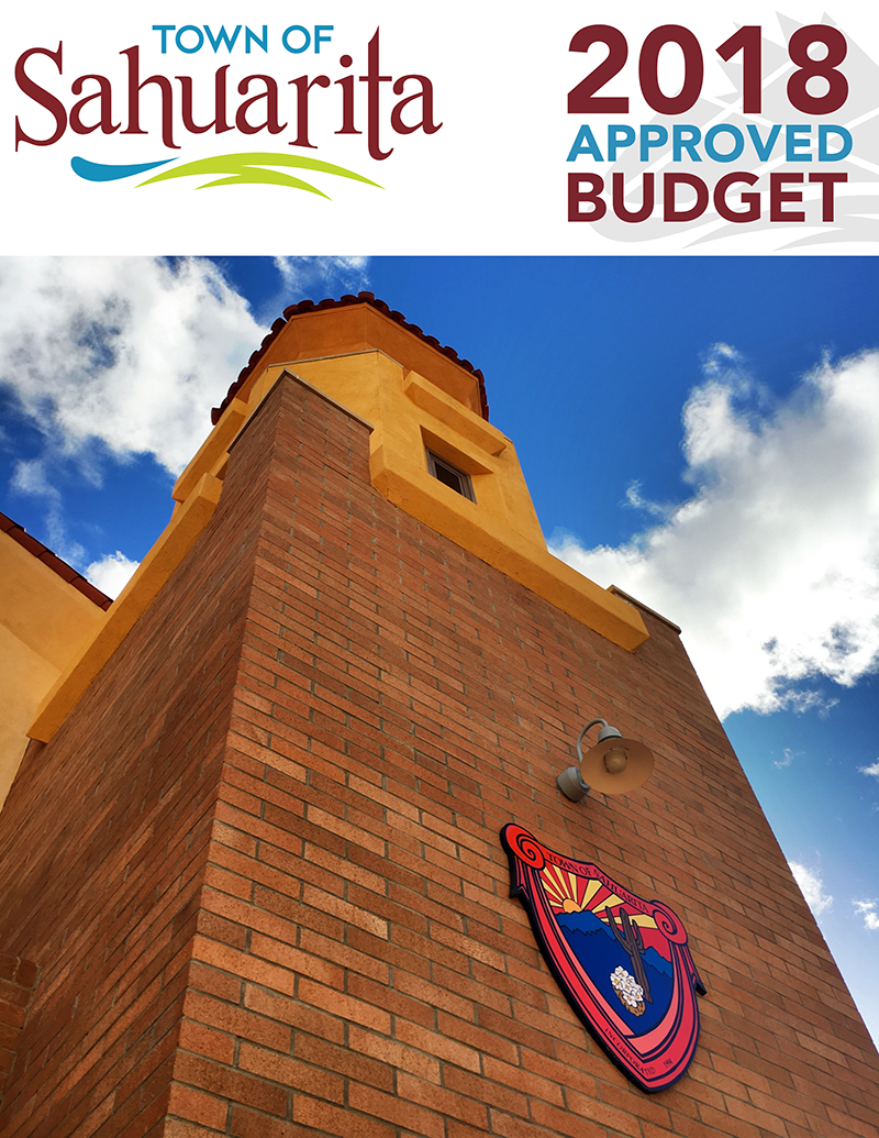 Cover photo of Town Hall tower with Town of Sahuarita seal in the shape of a shield.